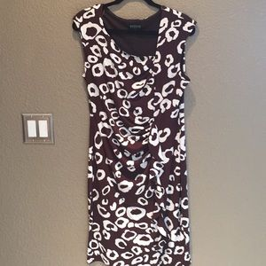 Brown and white short sleeve dress